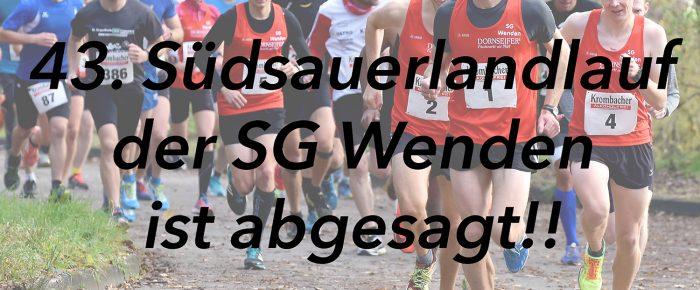 43. Südsauerlandlauf der SG Wenden ist nach Tod eines Schülers abgesagt!!