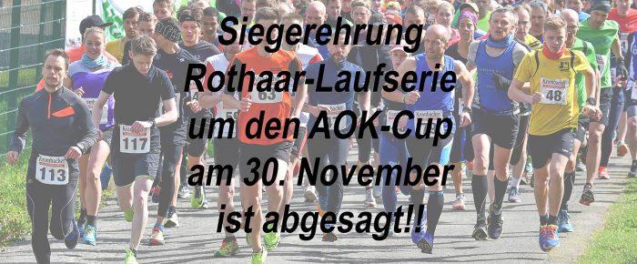 Siegerehrung Rothaar-Laufserie 2018 neu terminiert: 4. Januar 2019